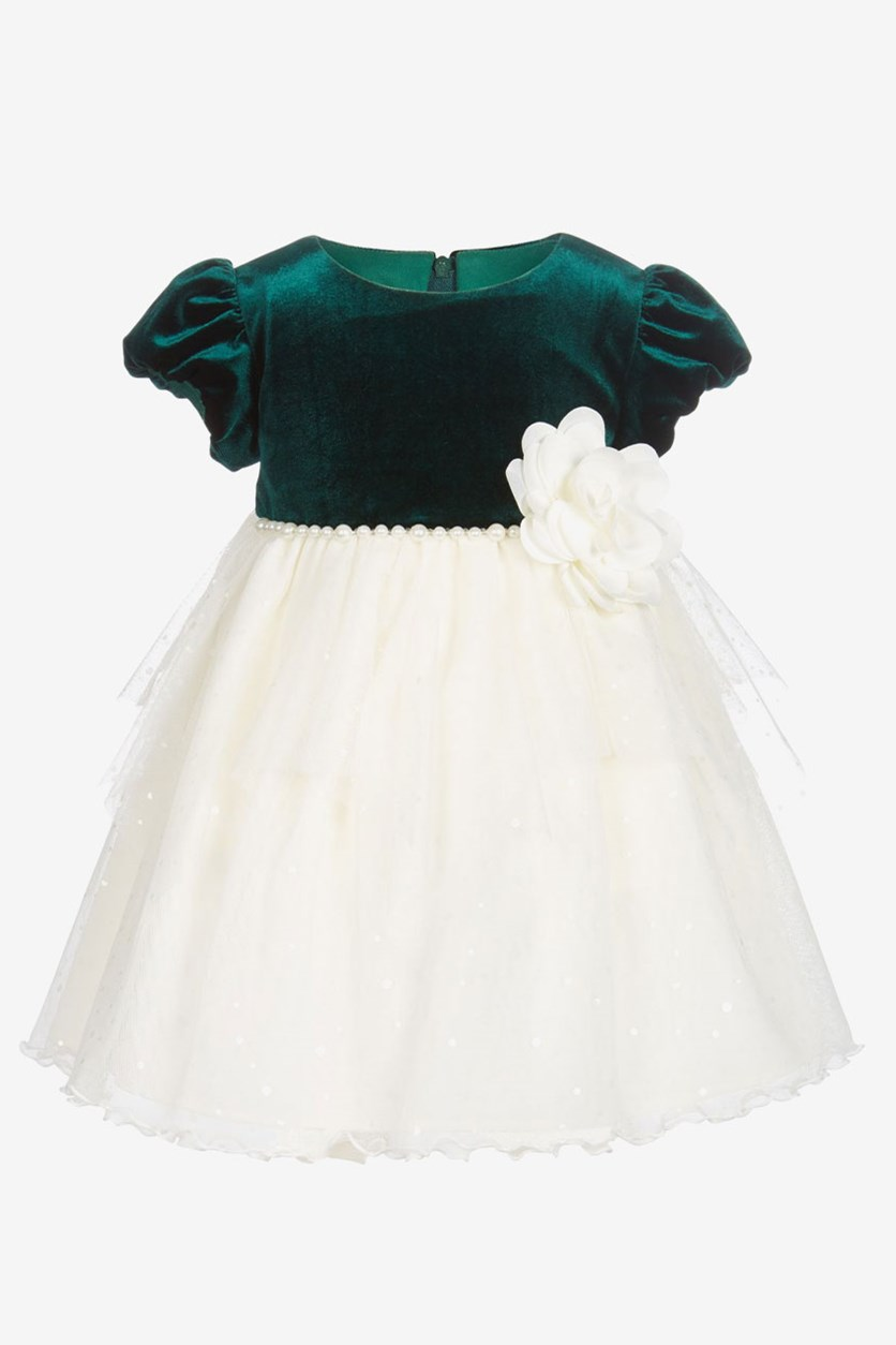 Baby Girls Pearl-Trim Dress, Ivory/Green
