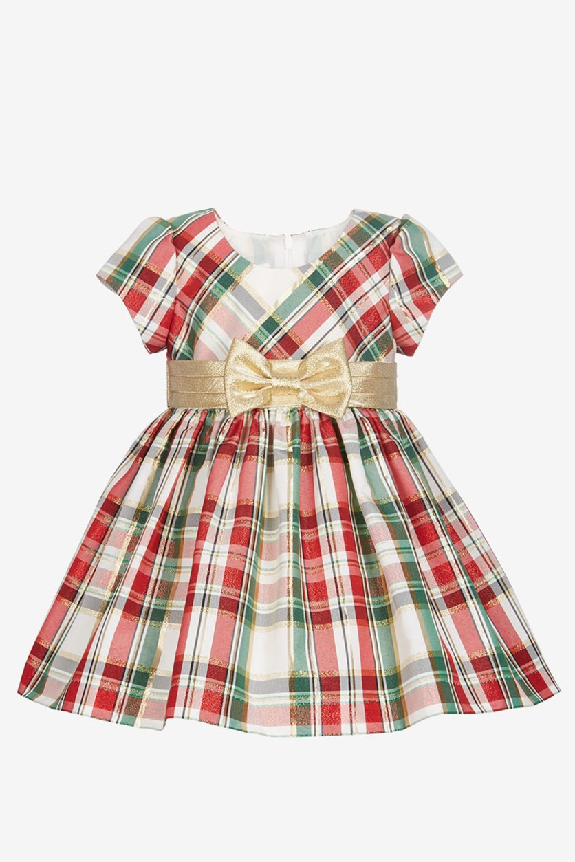 Baby Girls Metallic Plaid Dress, Red Combo