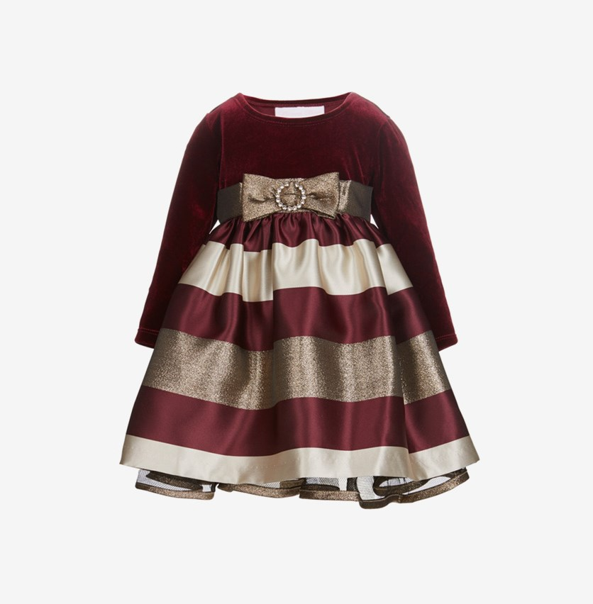 Toddlers Girls Velvet Jacquard Dress, Maroon/Gold