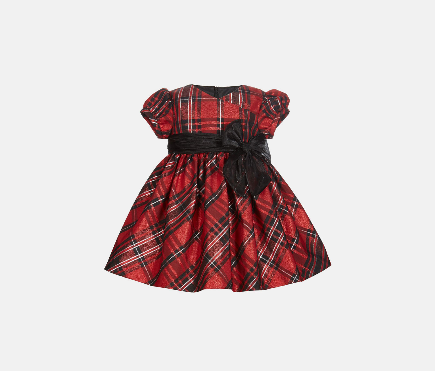 Baby Girls Metallic Plaid Dress, Red/Black