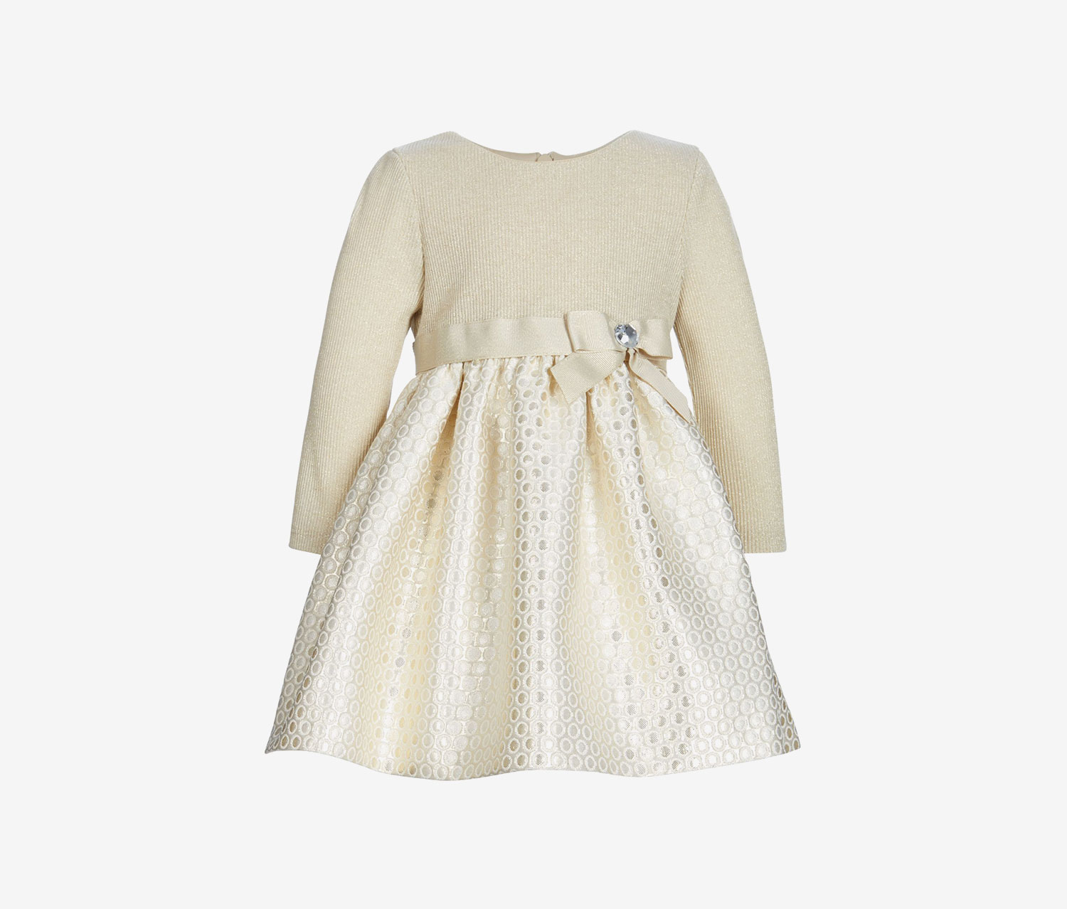 Toddlers Long Sleeve Metalic Dress, Light Gold