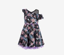 Big Girls 2-Pc. Floral-Print Plaid Skater Dress & Bow Set, Black/Purple Combo