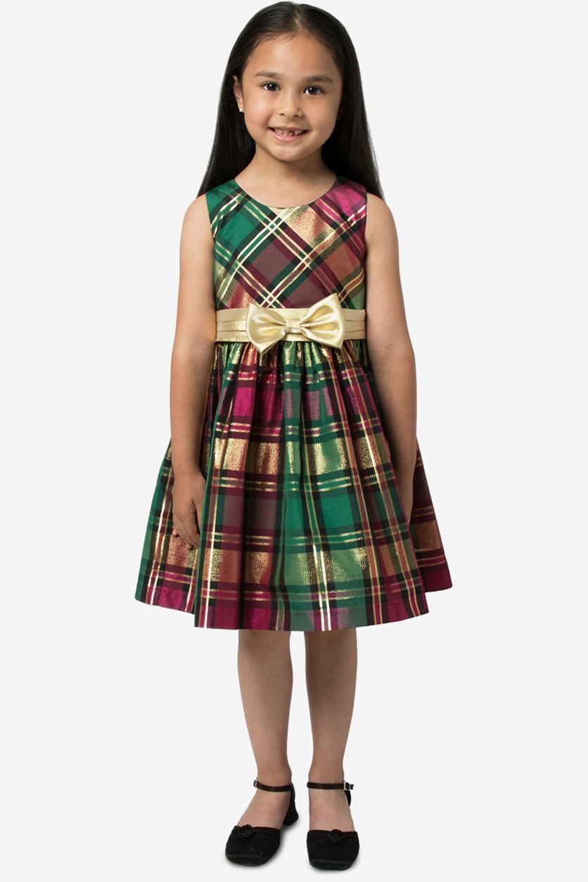 Little Girls Metallic Plaid Dress, Burgundy