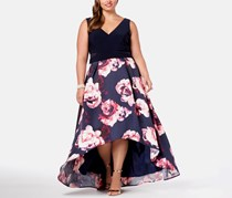 Plus Size Solid & Floral-Print High-Low Gown, Navy/Blush