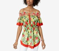 Xoxo Women's Floral Print Off-The-Shoulder Tunic Top, Red/Green Combo