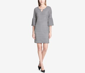 Calvin Klein Women's Lantern-Sleeve Keyhole Sheath Dress, White/Black