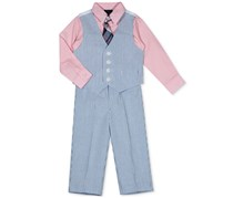 Nautica Boy's 4-Pc Vest, Shirt, Pants & Necktie Set, Blue/Pink