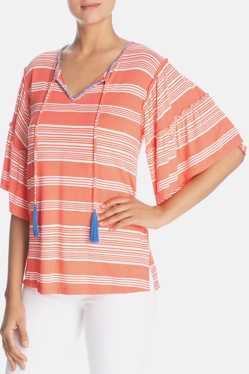 Womens Striped Short Sleeves Blouse, Coral Stripe