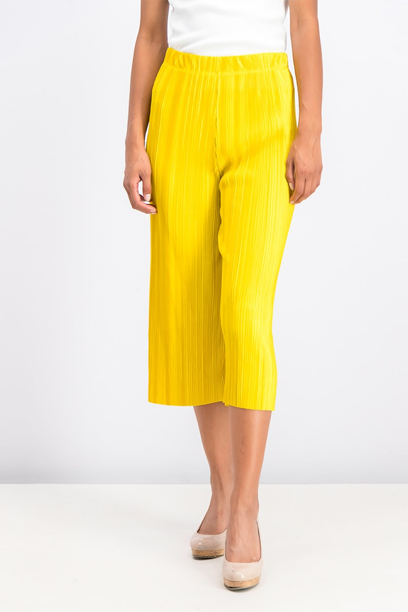 Women's Pleated Culottes, Yellow