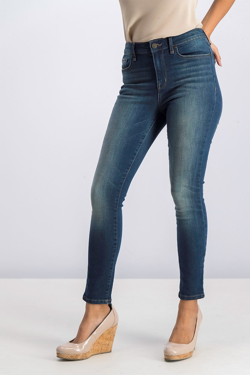 Women's High-Rise Ankle Skinny Jeans, Navy Wash