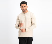 Mens LS Henley Shirt, Oatmeal Heather