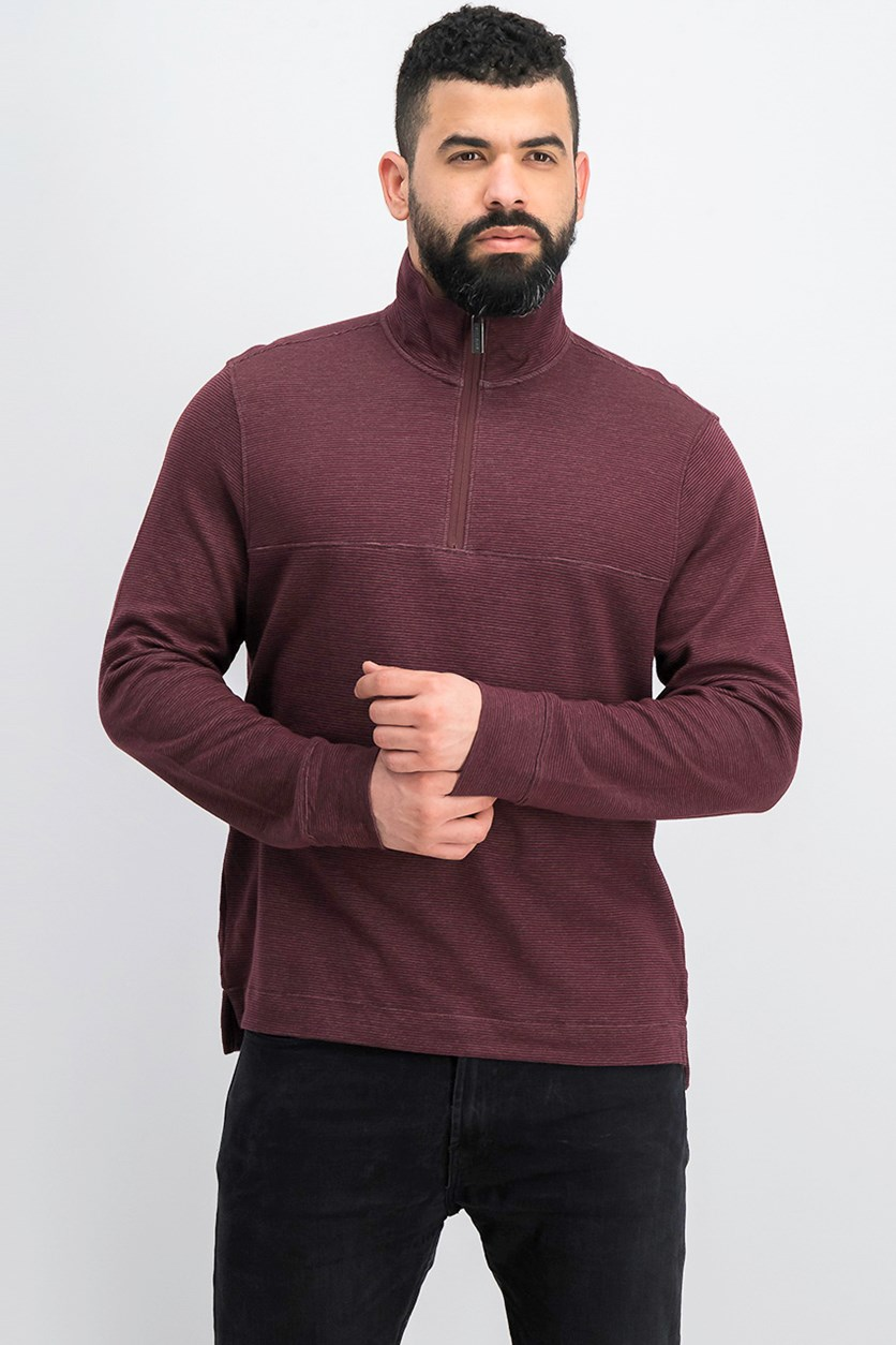Men's Textured Quarter-Zip Pullover, Port