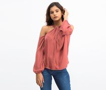 1.State Women's Cold Shoulder Top, Maroon