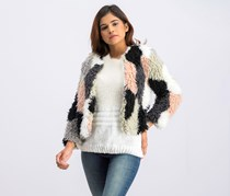 Patchwork Faux Fur Jacket, French Pink