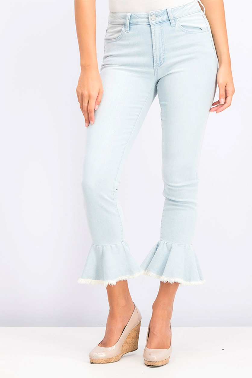 Womens Flared Hem Faded High-Waist Jeans, Surf Wash