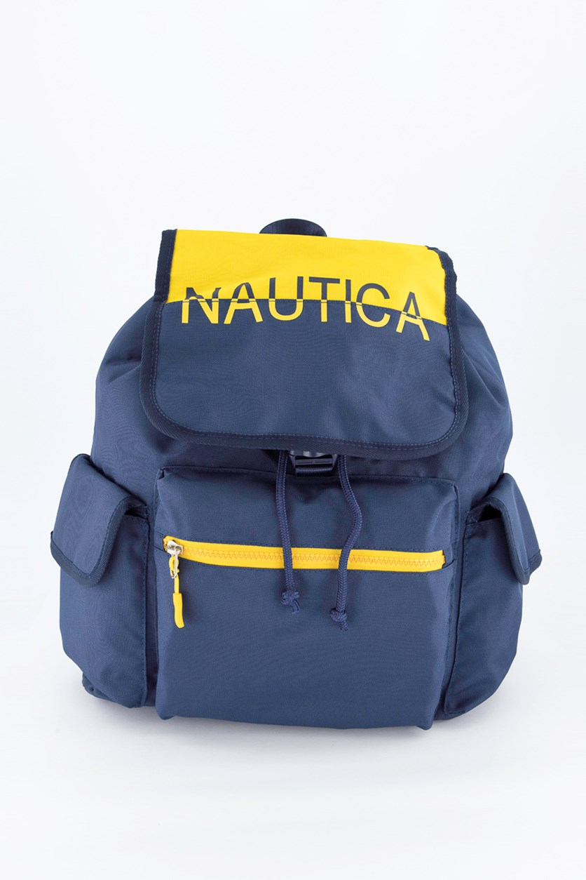 Flap Backpack, Navy/Yellow