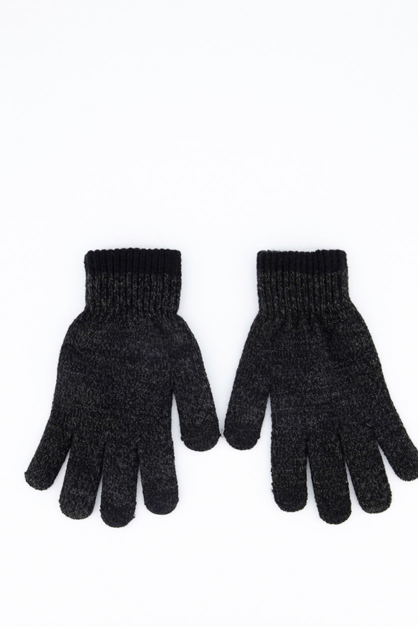 Mens Space-Dyed Gloves, Black/Charcoal
