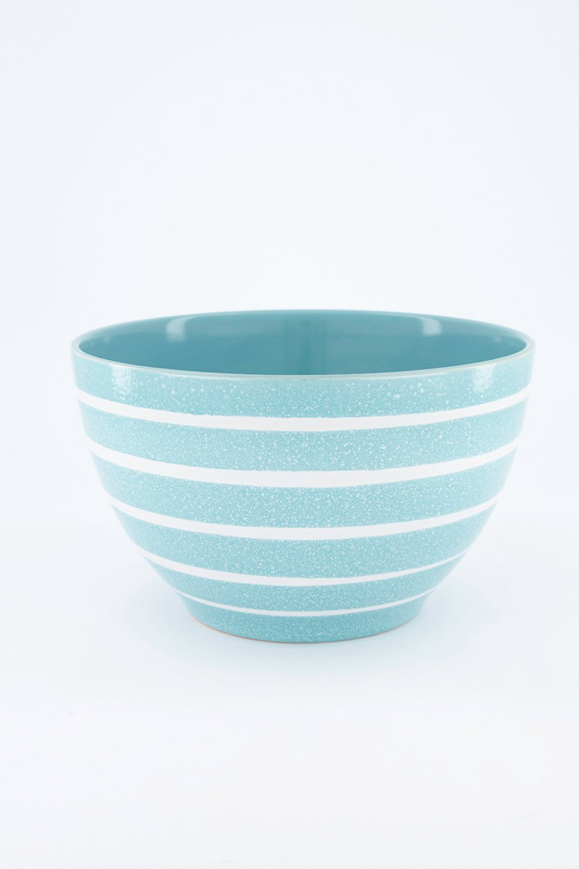 Home Madison Fall Striped Bowl, Turquoise/White