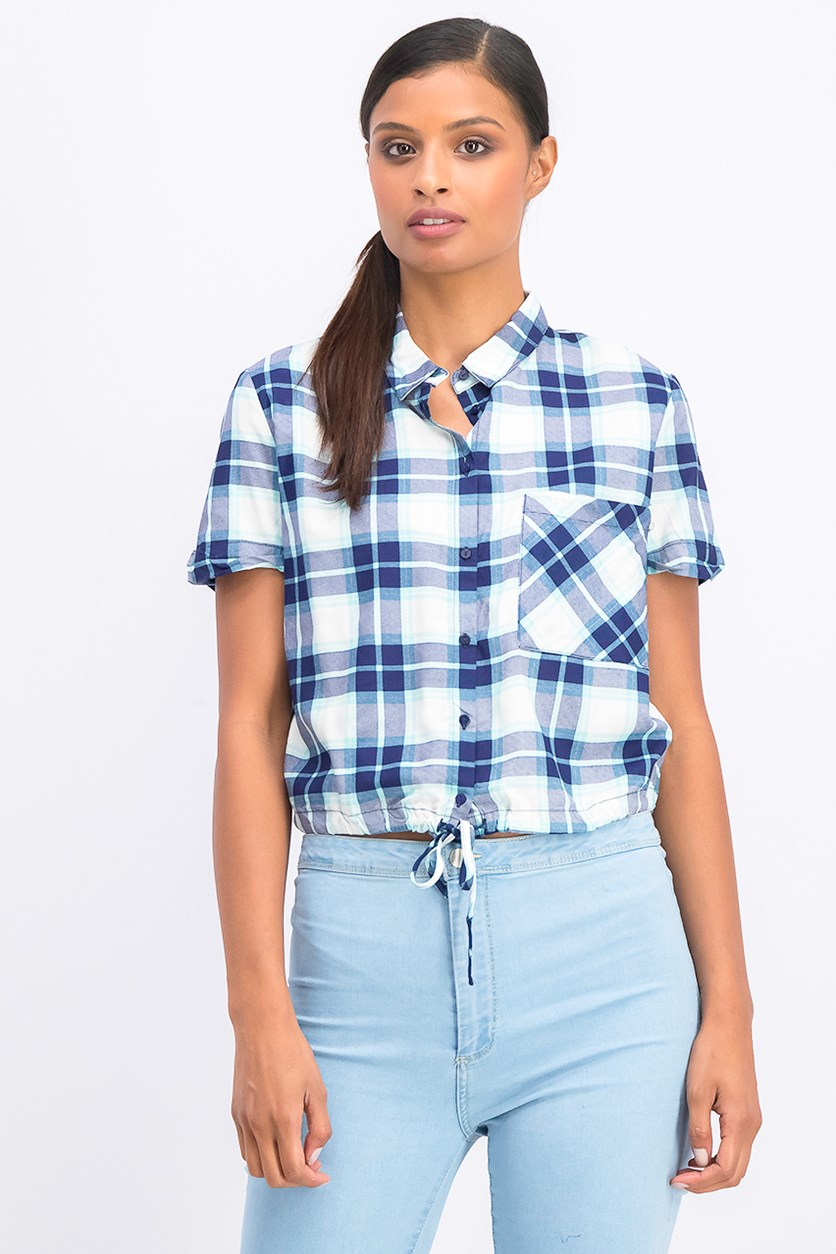 Women's Plaid Drawstring Hem Top, Blue/Turquiose