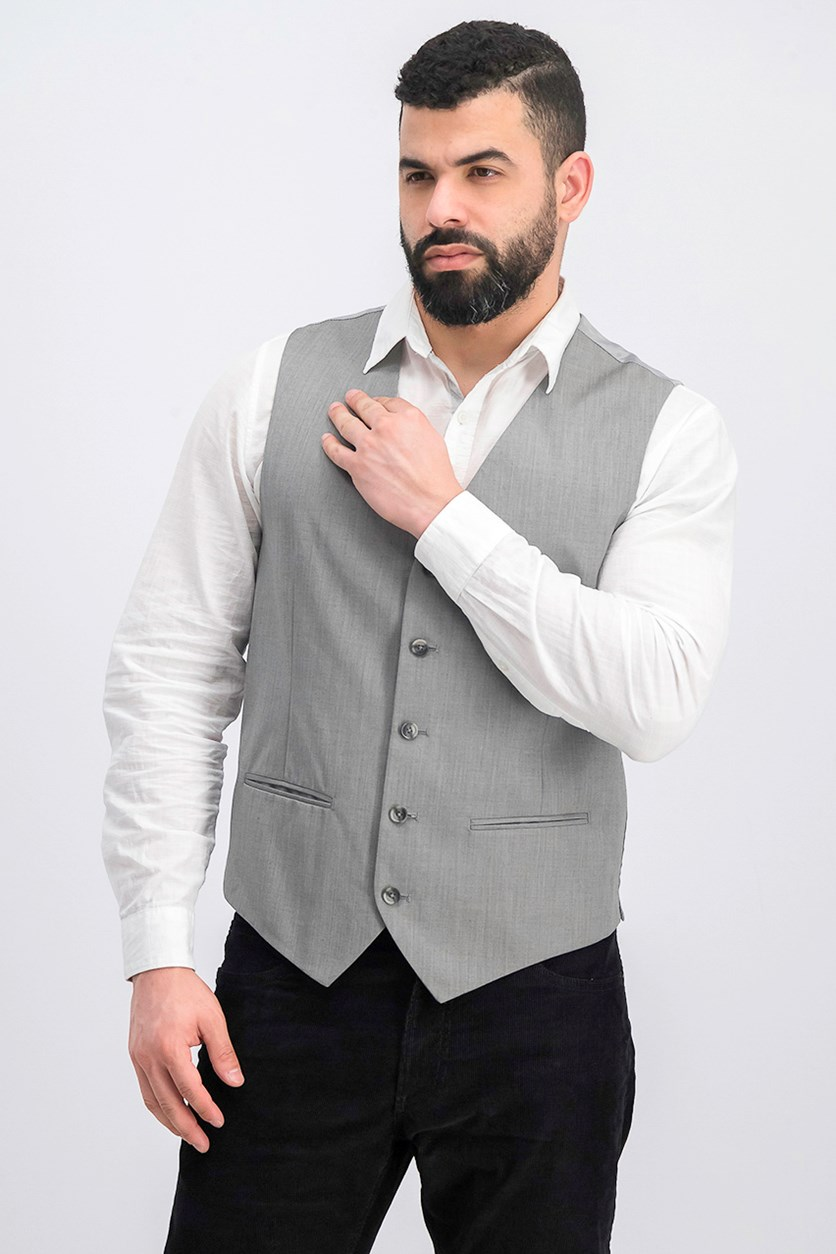 Men's Textured Suit Vest, Brushed Nickel