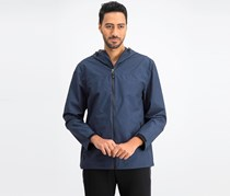 32 Degrees Men's Storm Tech Full-Zip Hooded Rain Jacket, Indigo Melange