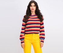 Juniors' Fluffy Striped Sweater, Pink Combo