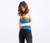 Free People Women's Frequency Ribbed Sweater, Blue Combo