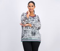 Ruby Rd. Tropical Twist 3/4 Sleeve Floral Mesh Overlay Top, Tropical Twist