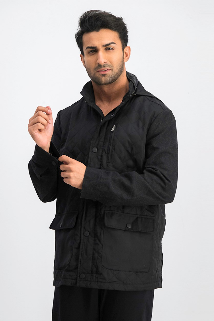 Men's Quilted Hooded Jacket, Black