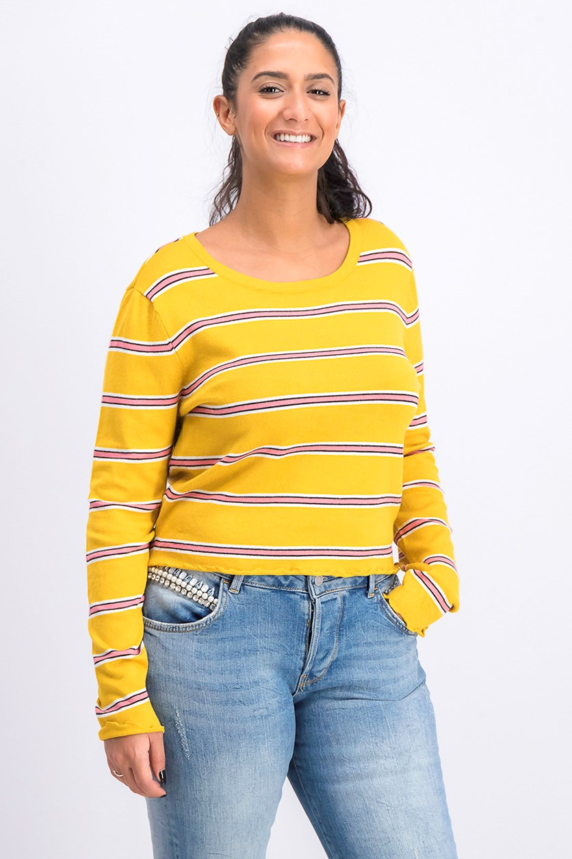 Juniors' Lettuce-Edge Pullover Sweater, Mustard/Pink