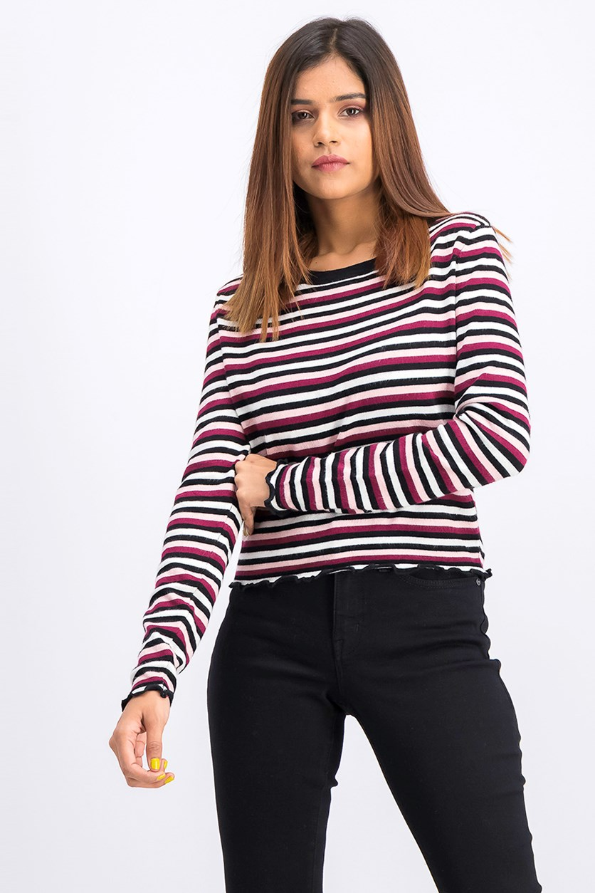 Women's Long Sleeve Lettuce-Edge Pullover, Stripe