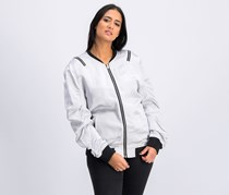 Women's Ruched Bomber Jacket, Silver
