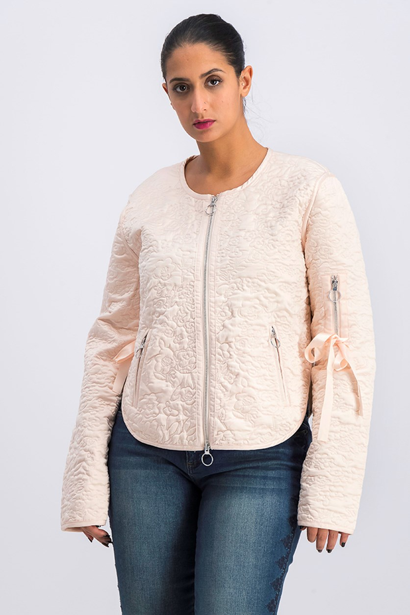 Women's Embroidered Jacket, Peach