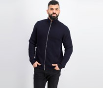 Theory Rovira Ribbed Merino Wool Zip-Front Cardigan, Navy