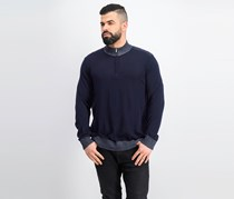 Theory Rothley Color-Block Quarter-Zip Sweater, Navy Combo
