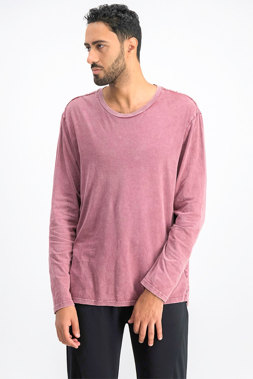 Men's Long-Sleeve T-Shirt, Burgundy Snow Wash