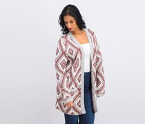 Juniors Open-Front Cardigan, Brown/Gray/White