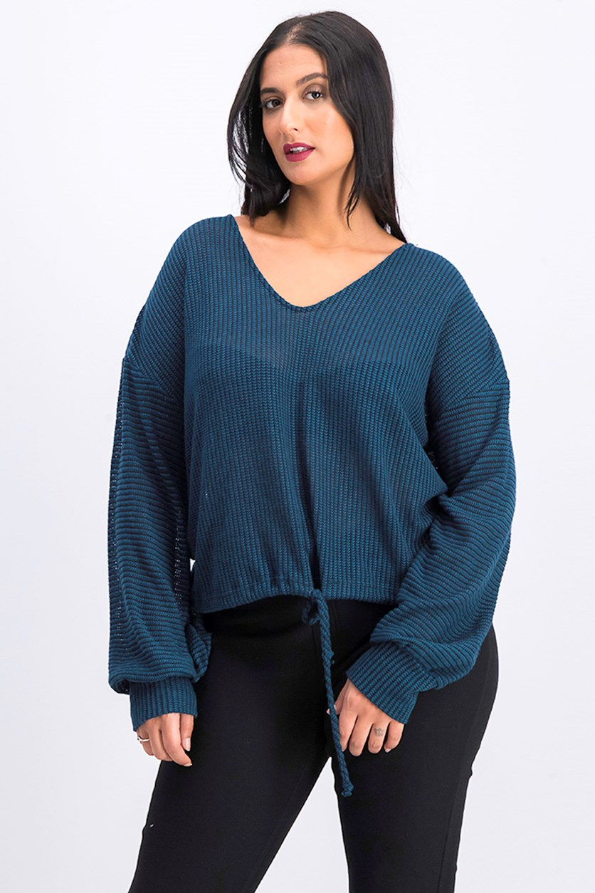 Women's V Neckline Sweater, Teal