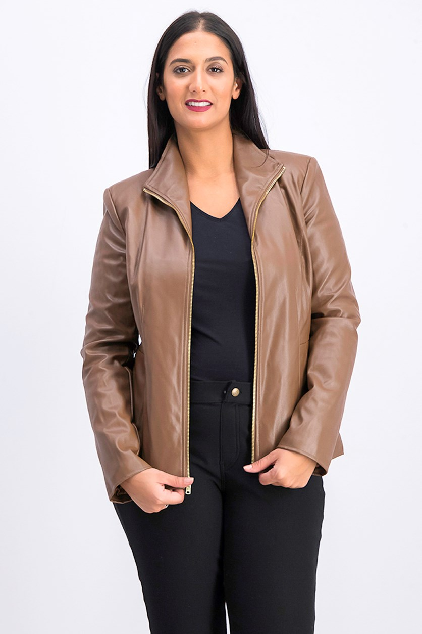 Women's Wing Collar Faux Leather Jacket, Hazel