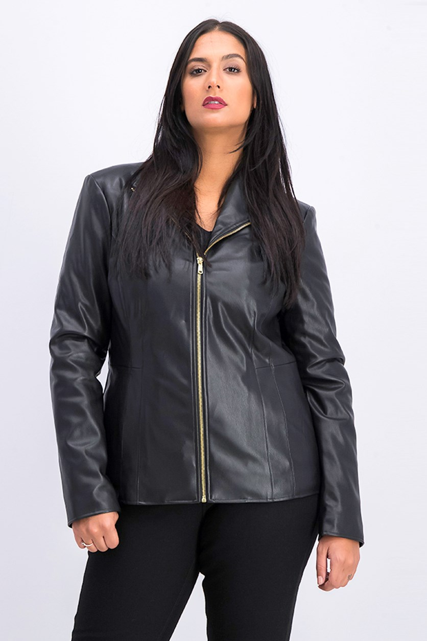 Women's Wing Collar Faux Leather Jacket, Black