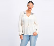 Lucky Brand Womens Embroidered V Neck Peasant Top, Ivory