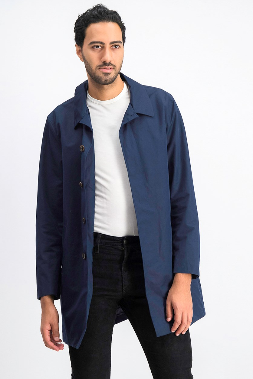 Men's Laser-Cut Car Coat, Midnight