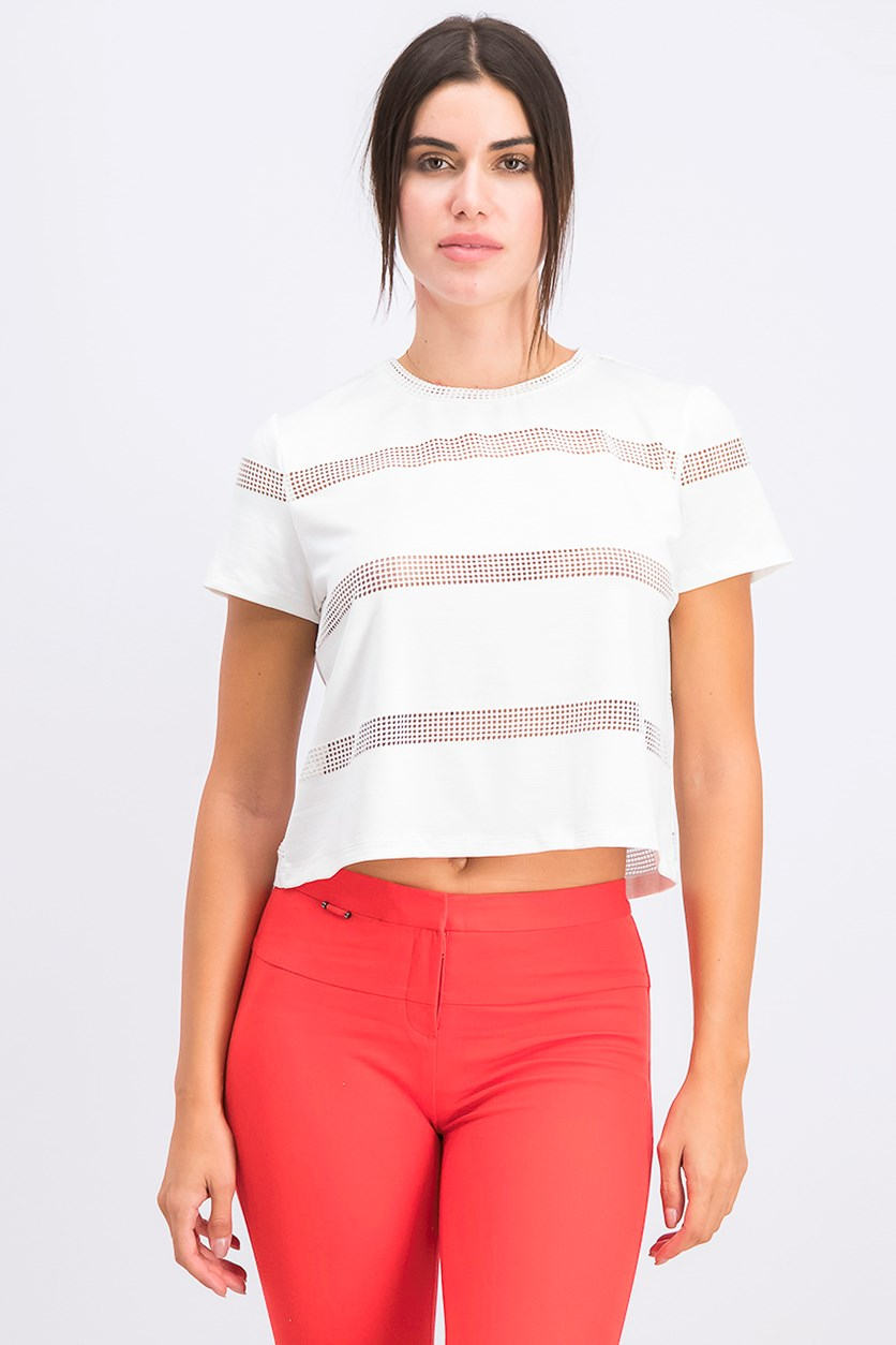 Women's Striped Mesh T-Shirt, White