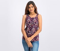 Women's Frayed Floral Top, Purple
