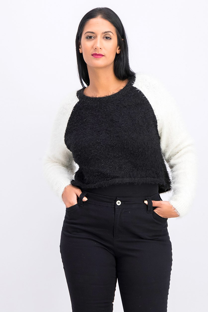 Juniors' Fuzzy Cropped Baseball Sweater, Black/White