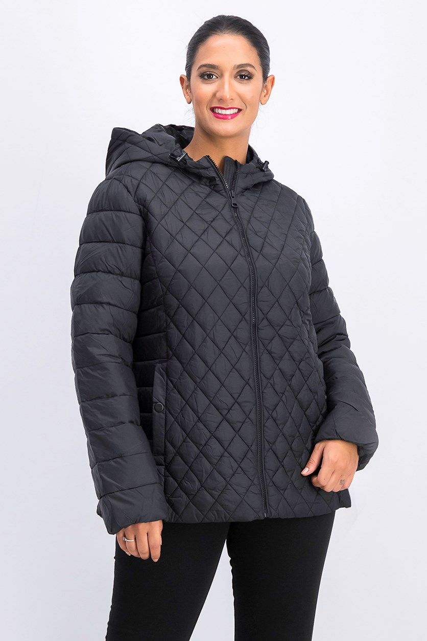 Women Engineer Quilted Jacket, Black