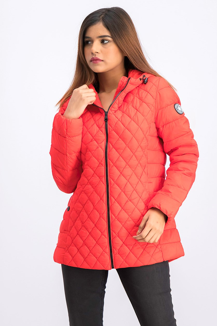 Women Engineer Quilted Jacket, Red