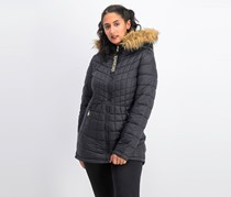 Women's Faux Fur Quilted Jacket, Black