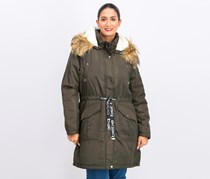 Women's Faux Fur Hoodie Parka, Olive/Natural