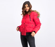 Bebe Women's Faux Fur Quilted Jacket, Red